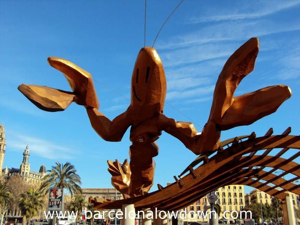 Gambrinus - The Funky lobster statue on Passeig Colom, Barcelona