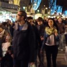 A crowd of people in Las Ramblas in December