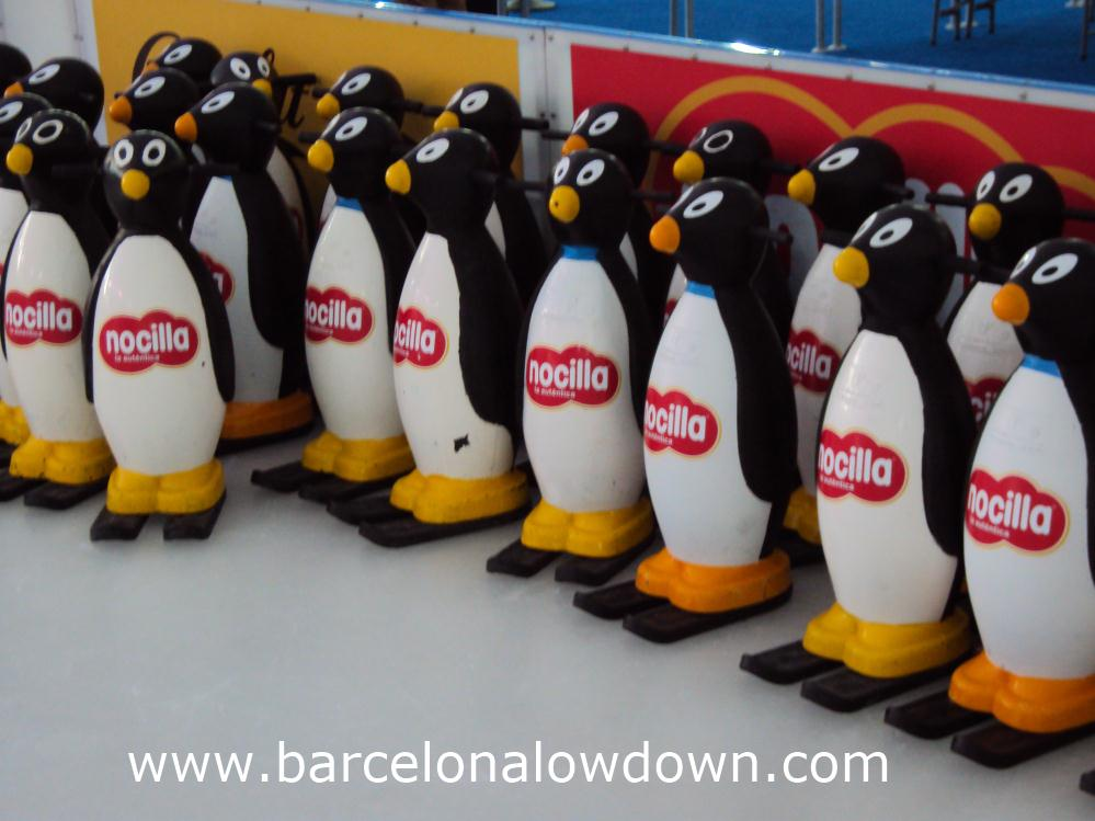 Penguina stabilisers lined up on the childrens' section of BarGelona ice rink