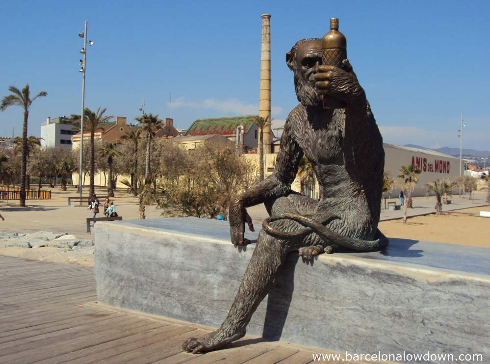 Statue of a monkey drinking anise in Badalona
