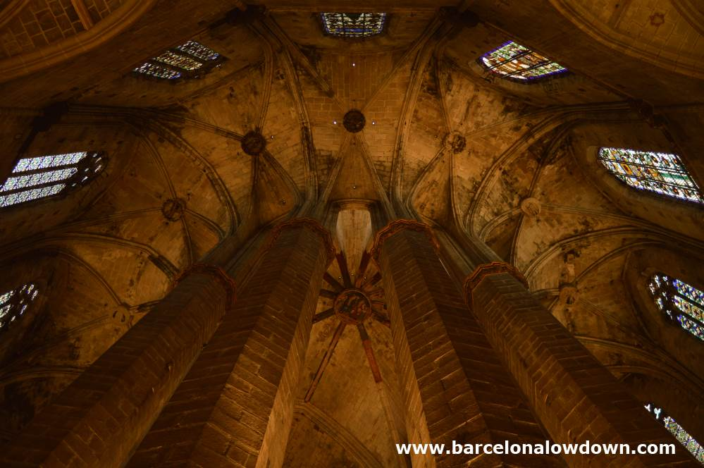View of the high ceilings of Santa Maria del Mar Cathedral of the Sea Barcelona