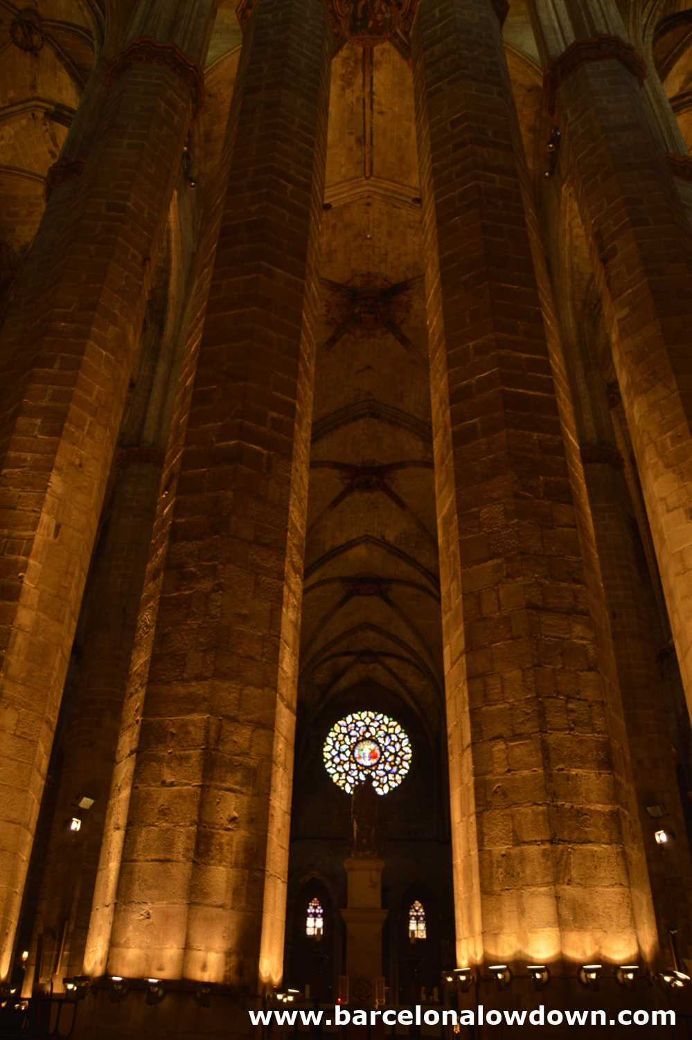 Tall columns in the Santa Maria del Mar Cathedral which is the largest medieval nave and prime example of Catalan gothic