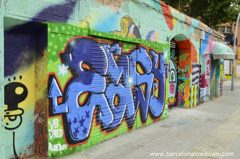 Colourful graffiti painted on derelict buildings in Barcelona