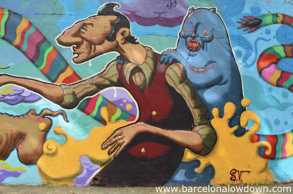 Painting of a cool looking guy and a wierd cat, Barcelona