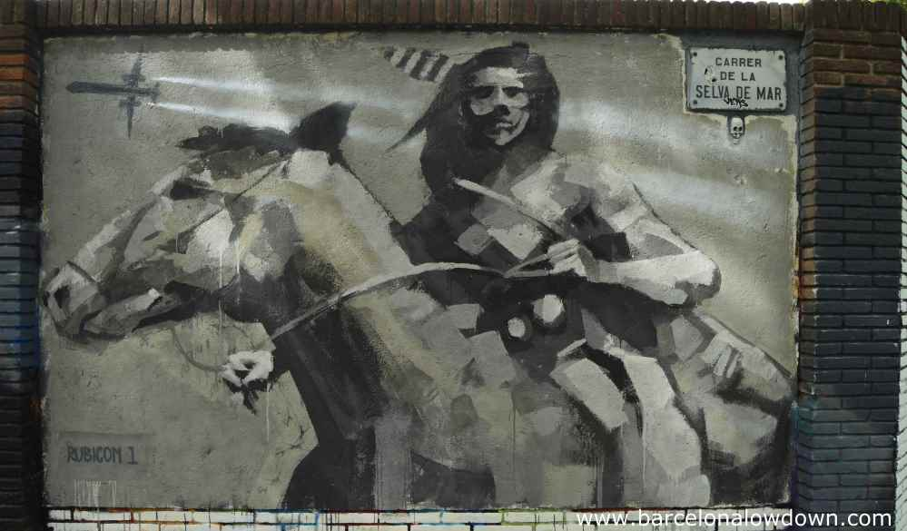 Street art painting of a native american on a horse with a jet plane flying overhead by rubicon 1