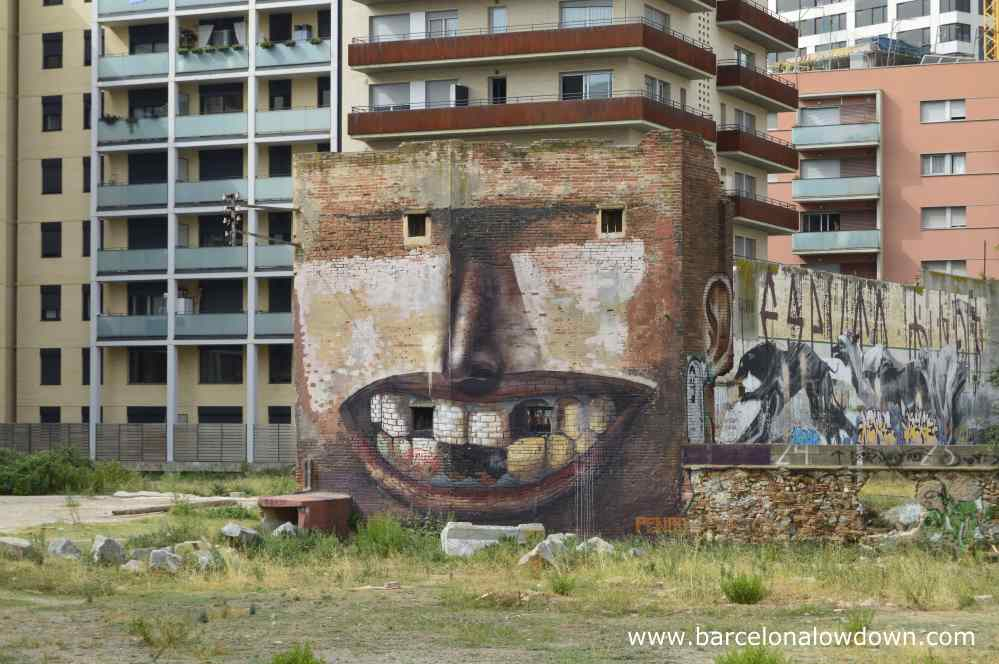 Smiling face 5 storey high graffiti Barcelona street art in Poblenou