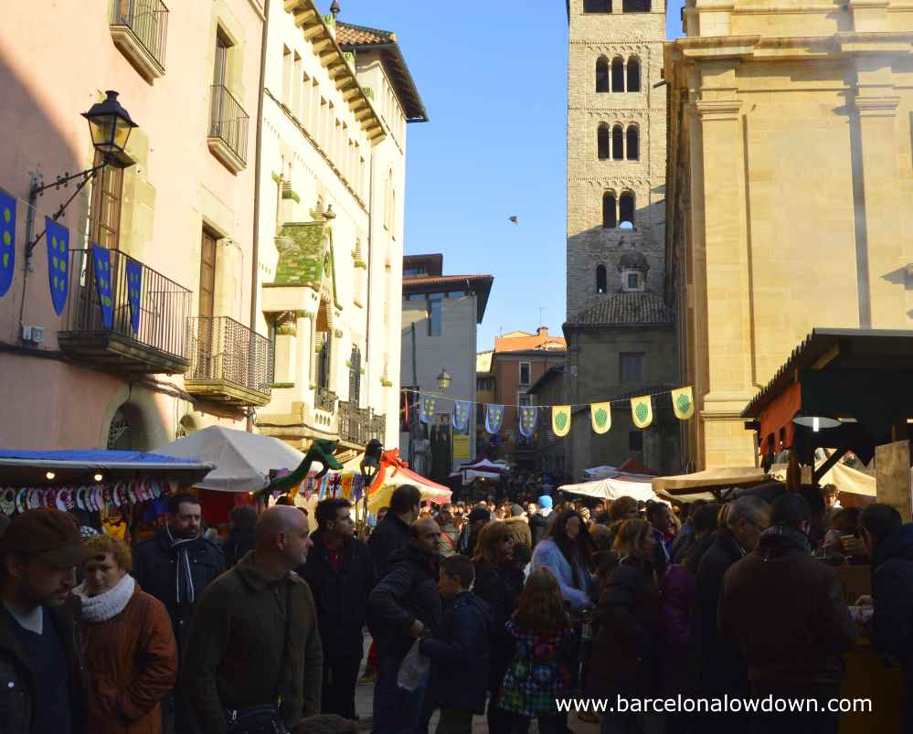 Crowds of people at Vic Medieval Fayre near Barcelona