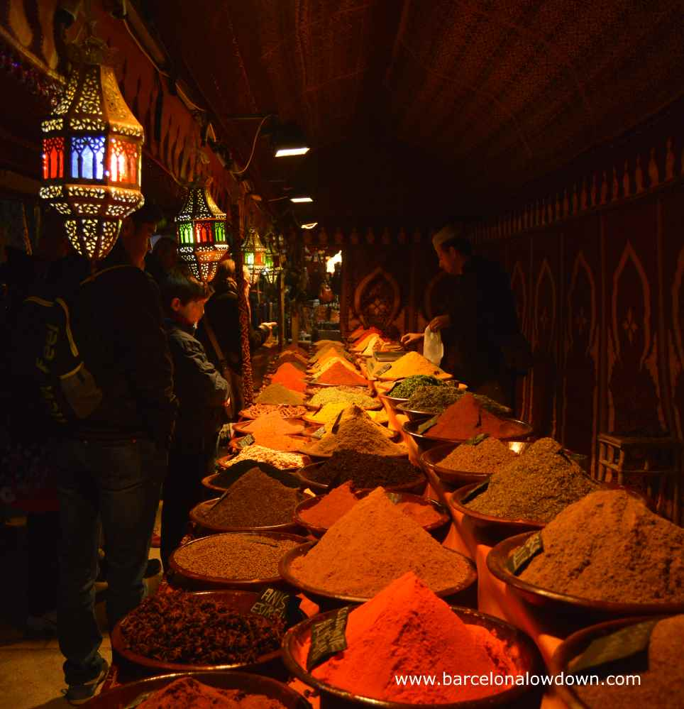Piles of aromatic and colourful spices in the medieval market of Vic near Barcelona Spain