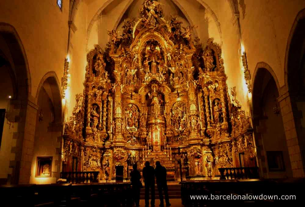 Large carved altar Santa Maria del Mar church Cadaques, Spain