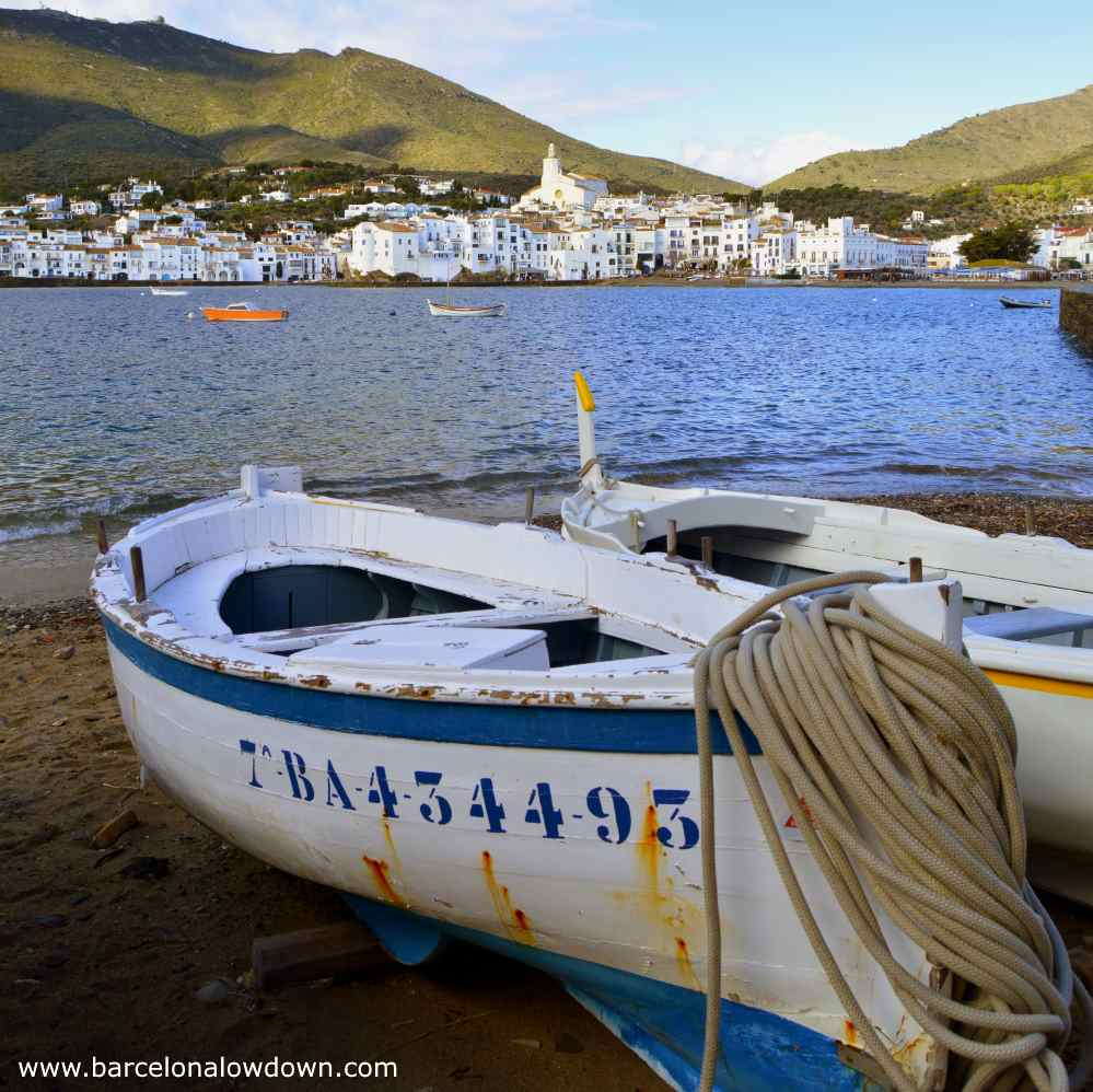 Fishing boats on the beach at Cadaqués Costa Brava Spain