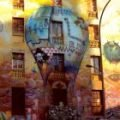 Balloning graffiti on the walls of Barcelona's most photographed squat