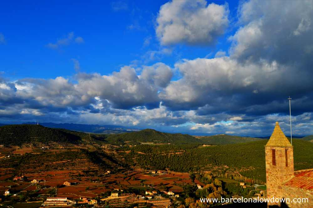 Spectacular panoramic views of the countryside surrounding Cardona castle, 1 hour and a half from Barcelona in the Spanish autonomous region of Catalonia.