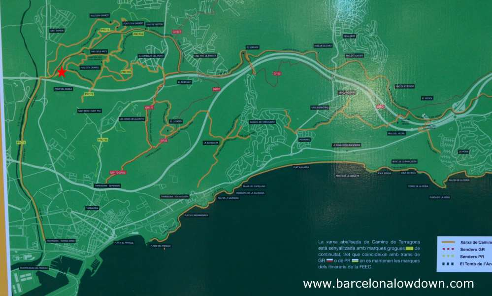One of the maps in the park which clearly indicate the path which follows the river Francoli back to Tarragona