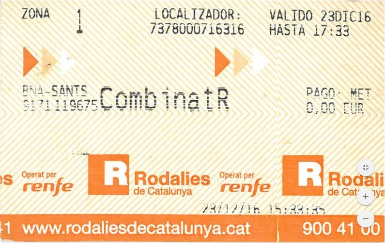 Example of a free train ticket in Barcelona