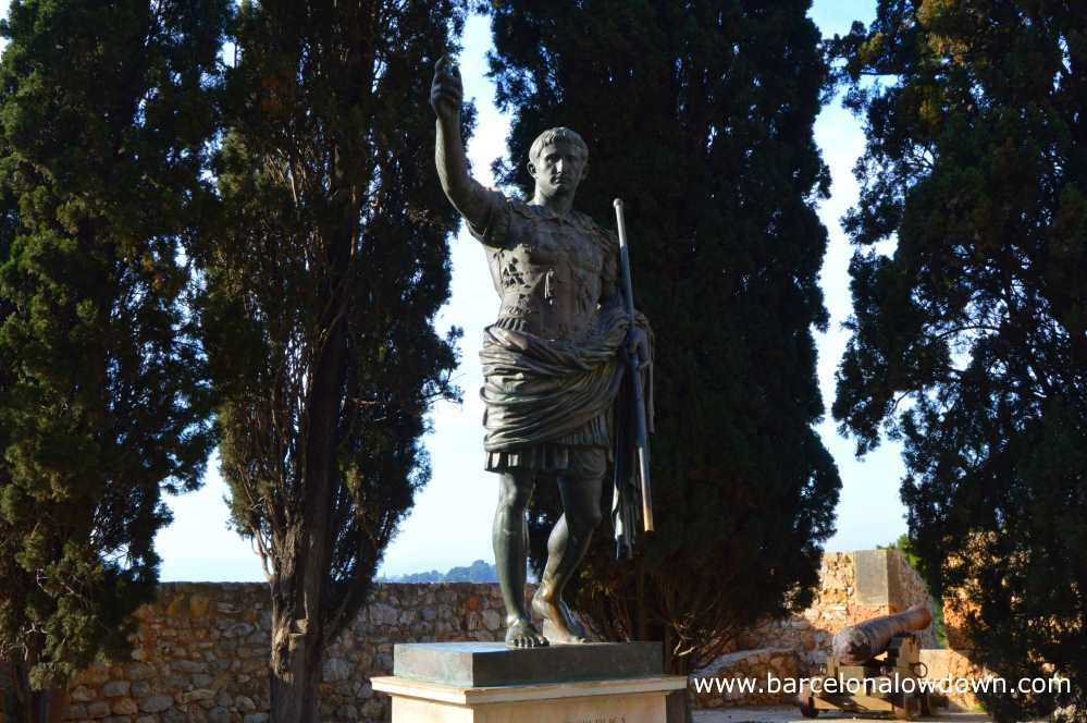 Bronze statue of Emperor Augustus located in the so called archaeological promenade or Roman walls of Tarragona Spain