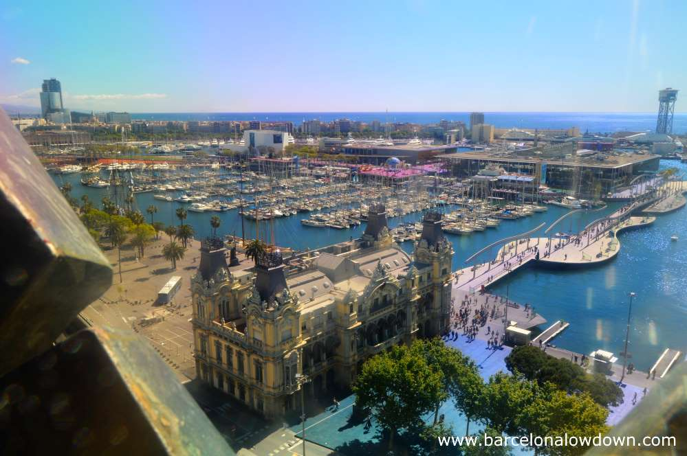 View of Barcelona harbour from the Christopher Columbus monument