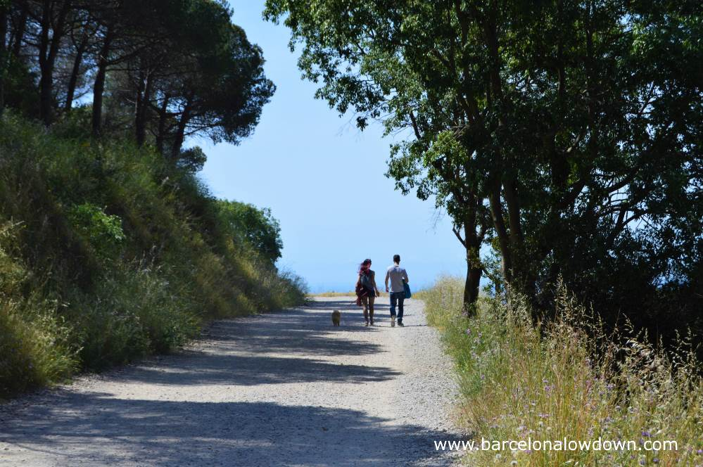 A couple walking their dog on the Carretera de les aigües in the hills of Collserola park overlooking Barcelona