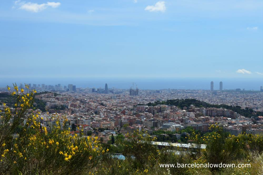In this photo you can see a large part of Barcelona including the Sagrada Familia church, the Mapfre towers, the Torre Agbar and the Turo de la Rovira
