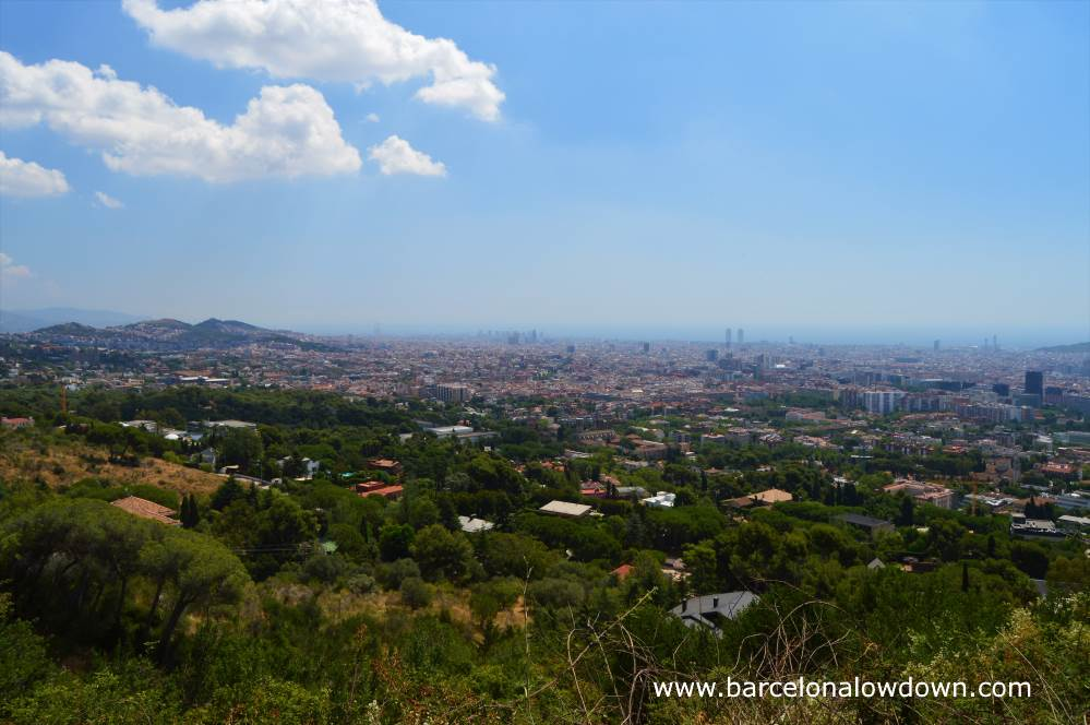 Panoramic view of Barcelona taken from the la Carretera de les aigues walking route in Collserola park