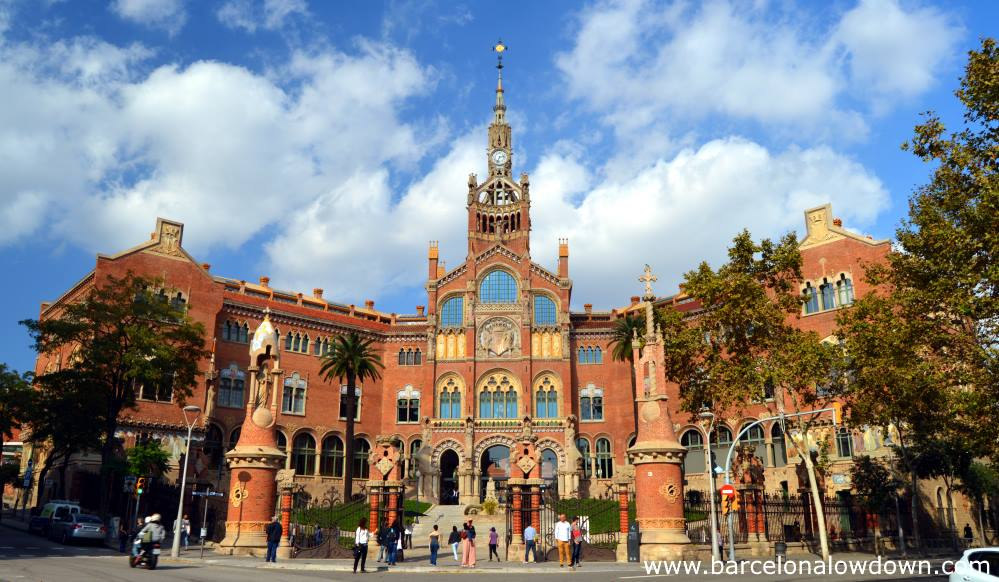 The main entrance to the old Hospital de Sant Pau Art Nouveau Site in Barcelona.