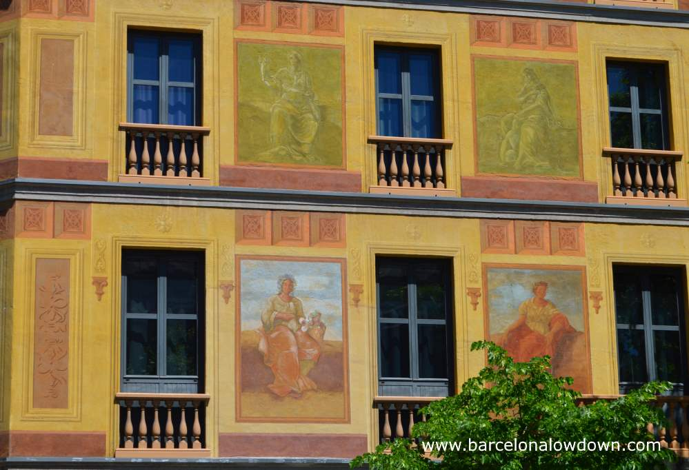 Close up of the colourful frescoes painted on the façade of Hotel Catalonia Eixample Carrer de Roger de Llúria, 60, one of the so called Cerda houses of Barcelona