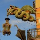 Dragon sign on the Umbrella House Barcelona